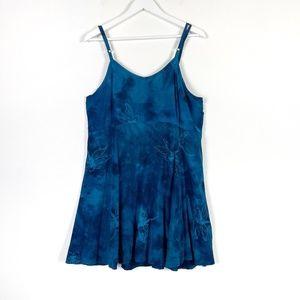 Blue Rayon Bleach Dye Dress Large